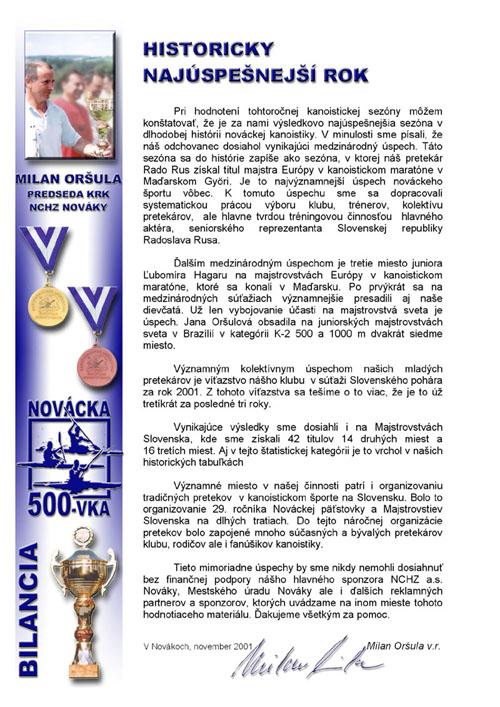 Profil klubu 2001/2002, strana 2